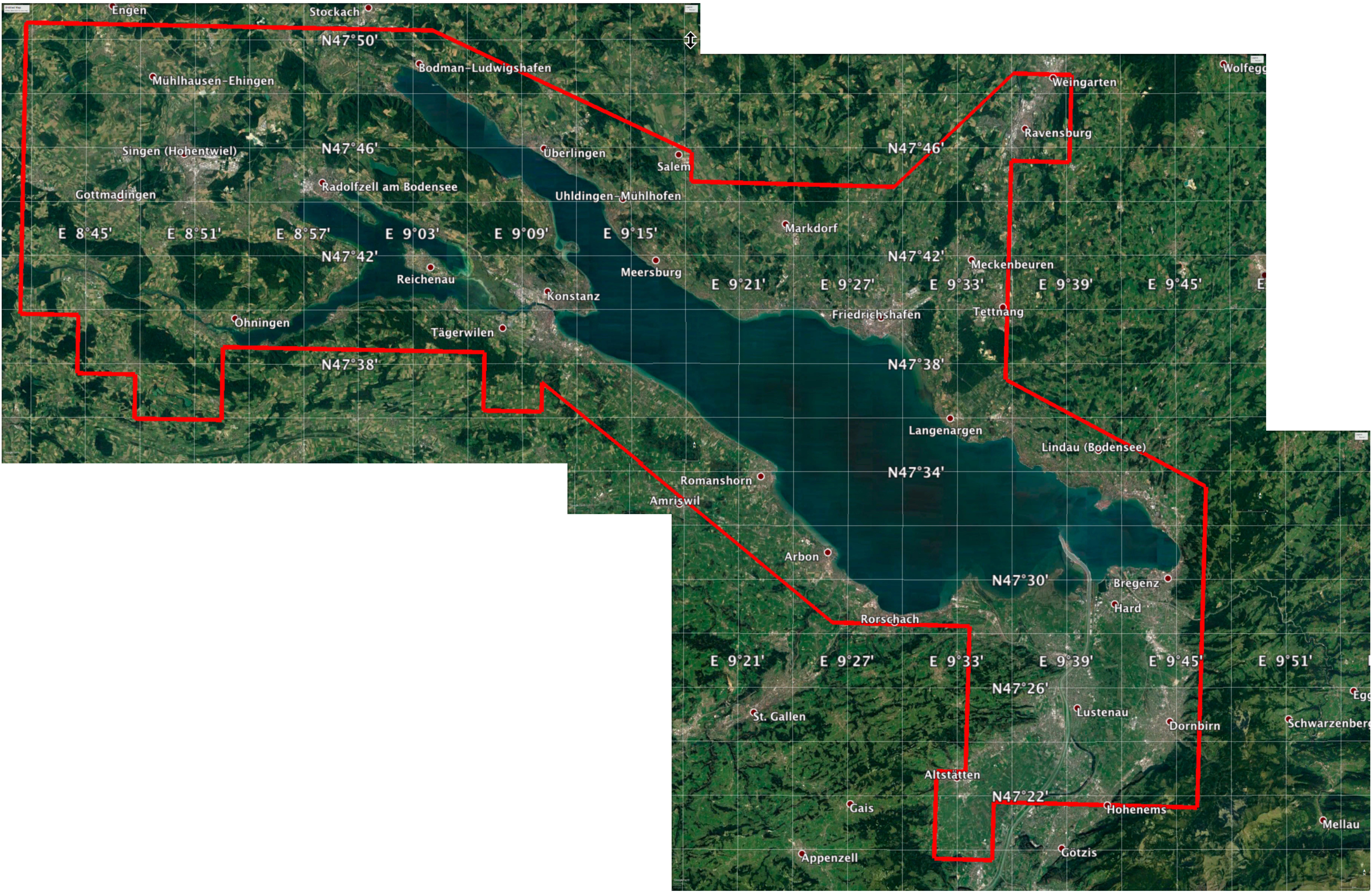 Bearbeitungsgebiet der Avifaunistischen Kommission Bodensee (AKB)